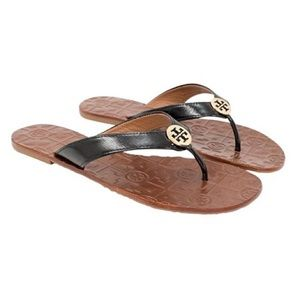 Tory Burch 8 Thora Black & Gold Leather Flipflops